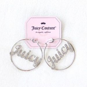 "Juicy Couture Silver ""Juicy"" Hoop Earrings"